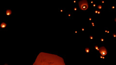 Flying lantern - stock footage