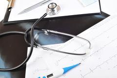 Stethoscope on  printout Stock Photos
