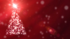 Graphic animation of xmas tree with twinkling lights rotating on red background Stock Footage