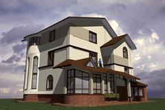 dwelling house - stock illustration