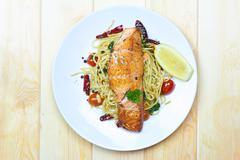 Stock Photo of spaghetti salmon