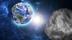 asteroid approaching to earth - stock illustration