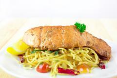Stock Photo of spaghetti salmon with hot chilli