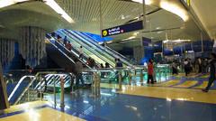 Dubai Metro Bur Dubai Escalator going down UAE Stock Footage