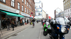 Pan towards the motorcycles  Stock Footage