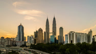 Stock Video Footage of Kuala Lumpur Cityscape During Sunrise (Reversed)