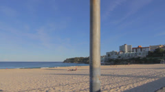 Cinematic dolly shot at a quiet beautiful day at bondi beach Stock Footage