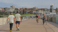 Low angle view of the Bondi pavillion and the promenade Stock Footage