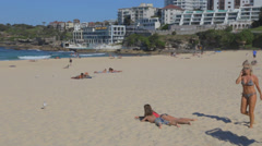 A view of bondi beach from the patio of a bondi restaurant Stock Footage
