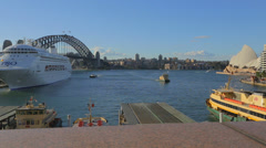 great view of circular quay, opera house, and the harbour bridge - stock footage