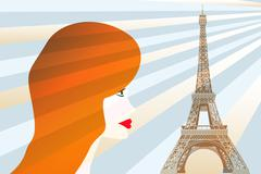 Girl and eiffel tower - stock illustration Stock Illustration