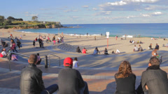 A sunny  pan of coogee beach Stock Footage