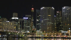 Stock Video Footage of a medium shot -  evening CBD skyline from darling harbour