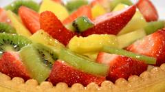 Fruit tart close up Stock Footage