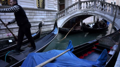 Italy, Venice, Walk to the gondola, Canal Tours - stock footage