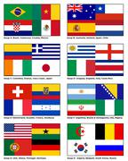 Flags of all the competing nations of World Cup 2014 Brazil Group Stock Illustration