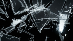 Cracked and Shattered glass with slow motion. Alpha Stock Footage