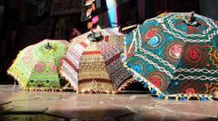 Dubai Blu Dubai old town Souq market traditional Umbrella tourists shadow UAE Stock Footage