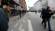 Stock Video Footage of Bicycles and pedestrians on the street