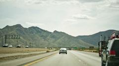 Cars Driving on Beautiful Scenic Desert Highway Road - Freeway Mountain Horizon - stock footage