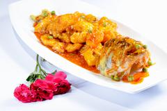 chinese food: sweet and sour perch - stock photo