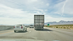 Stock Video Footage of Cars Driving Fast on Scenic Highway Truck Switching Lanes