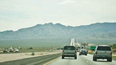 Cars Driving on Beautiful Scenic Highway Road - Freeway Mountain Horizon - stock footage