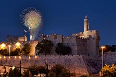 .fireworks in the old city of david in jerusalem during the night. Stock Photos
