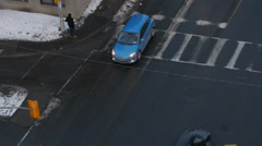 Urban Intersection From Above - stock footage