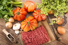 Ingredients for filled beefsteak tomato, Low Carb - stock photo