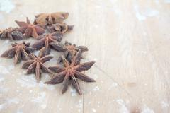 Anise isolated on wood backgriound Stock Photos