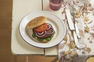 Stock Photo of Burger with mincemeat, tomato, lamb's lettuce and red onions on plate