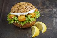 Stock Photo of Burger with fish fingers and herb curd