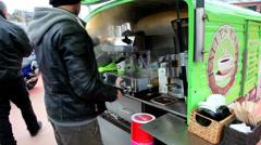 Coffee vendor on the street Stock Footage