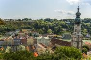 Stock Photo of Germany, Bavaria, Burghausen, Cityscape with parish church St.Jakob