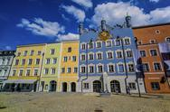 Stock Photo of Germany, Bavaria, Burghausen, Colorful houses at Stadtplatz