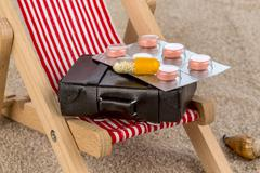Symbolical picture of first-aid kit for long distance travels, detail Stock Photos