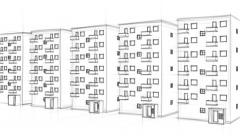 Rough drawing of apartment houses close to each other (FULL HD) Stock Footage