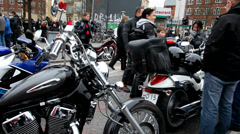 Motorcycles and their riders Stock Footage