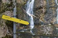 Stock Photo of Austria, Lower Austria, Oetscher-Tormaeuer Nature reserve, Schleier Falls, sign