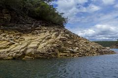 Sandstone outcrop at Furnas Hydroelectric lake - stock photo