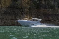Luxury cruiser on Furnas Hydroelectric Lake Stock Photos