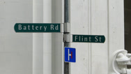 Stock Video Footage of Singapore Financial district Battery and Flint street sign
