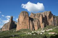 Stock Photo of Spain, Aragon, rock formation Mallos de Riglos near Riglos