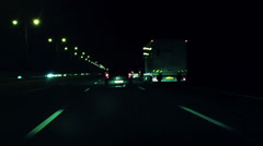 Stock Video Footage of highway drive midnight blue Time laps lights flashing by in HD