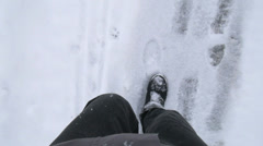 Walking Winter Season POV Stock Footage