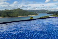 Breathtaking view from horizon pool of Furnas hydroelectric lake Stock Photos