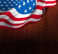 Stock Illustration of u.s. flag on a wooden floor