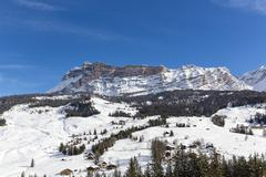 Italy, Dolomites, Alto Adige, Kreuzkofel, winter sport region Alta Badia, La Stock Photos