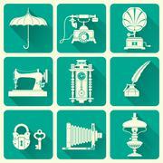 vintage ephemera and objects of old era icons - stock illustration